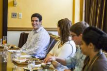 Lehigh University Science and Environmental Writing - four students talking at the 2014 Farewell Luncheon