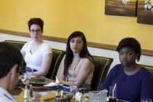 Lehigh University Science and Environmental Writing - three students at the Farewell Luncheon