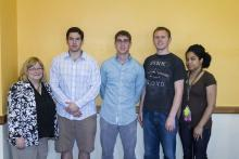 Lehigh University Science and Environmental Writing - four students with director Sharon Friedman at the Farewell Luncheon